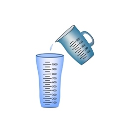 Beaker measuring cup pouring of measuring cups vector