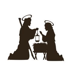 Black silhouette nativity scene catholic vector