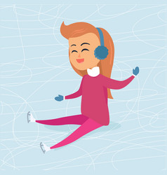 cartoon girl in blue headphones sits on icerink vector image