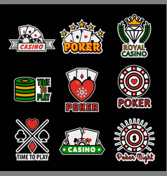 Casino poker logo templates set vector
