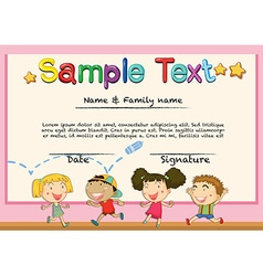 Certificate with happy children background vector image vector image