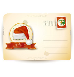 christmas postcard with santas hat vector image