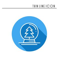christmas snow ball thin line icon christmas tree vector image vector image