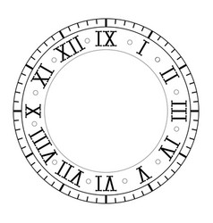 Clock with roman numerals vector