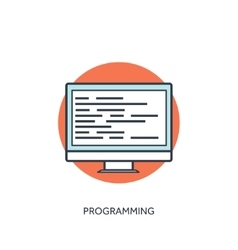 Coding and programming icon with lined computer vector