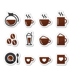 Coffee icons on labels set vector image vector image