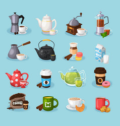 Colorful tea and coffee icons set vector