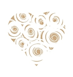 Craft paper heart with white swirls vector