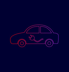 Electric car sign line icon with gradient vector