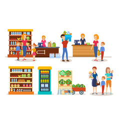 families walking through mall make purchases vector image