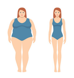 fat and slim woman in flat style vector image vector image