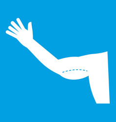 Flabby arm cosmetic correction icon white vector
