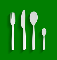 Fork spoon and knife sign paper whitish vector