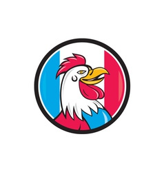 French rooster head france flag circle cartoon vector
