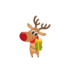 Funny Christmas reindeer in red scarf holding a vector image
