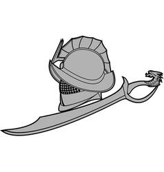 gladiators helmet with sword vector image vector image