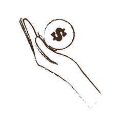 Hand holds bill coin money sketch vector
