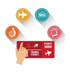 Hand tocuh ticket travel icons vector