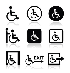 Man on wheelchair disabled emergency exit icon vector