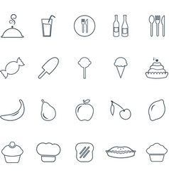 outline food icons set graphic design elements vector image vector image