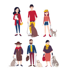 People walking with his dogs of different breeds vector