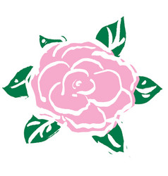 Pink rose for valentines day vector