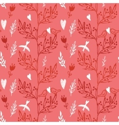 pink seamless pattern with tree and flying birds vector image