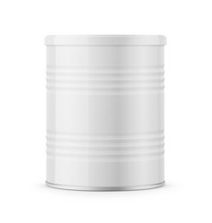 Round glossy tin can for powder milk vector