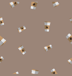 Seamless pattern with coffee paper cup vector