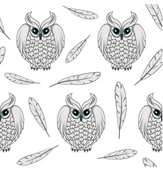 Seamless pattern with white polar owls and feather vector