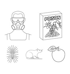 Staff packing with poison and pests outline icons vector