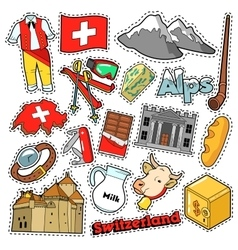 Switzerland Travel Stickers Patches Badges vector image vector image
