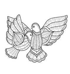 Zentangl two stylized dove vector image