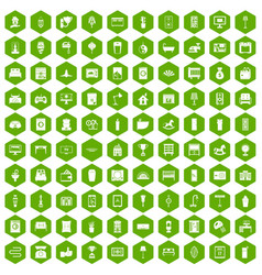 100 interior icons hexagon green vector