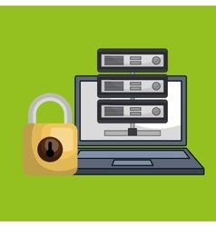 Laptop padlock data base vector