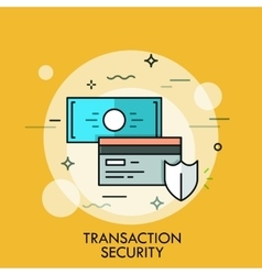 Shield credit card and banknote transaction vector