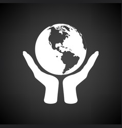 Hands holding planet icon vector