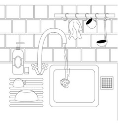 Dish washing kitchen view vector
