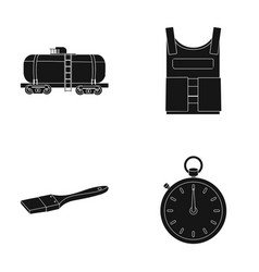Railway tank bulletproof vest and other web icon vector