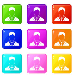 man in business suit set 9 vector image