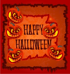 Happy halloween frame with pumpkins vector