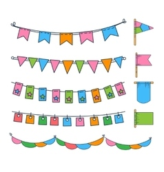 Colorful garlands and flags vector