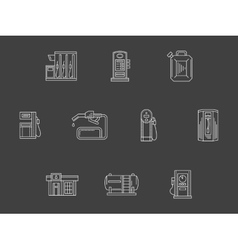 White line filling station icons collection vector