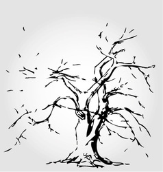 Abstract tree with fallen leaves vector