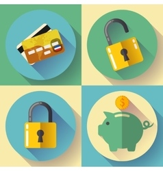 Online banking deposit and security icons vector