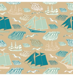 Seamless pattern with sea and ships vector