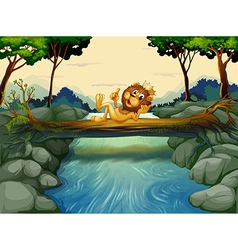 A lion with a crown at the river vector image vector image