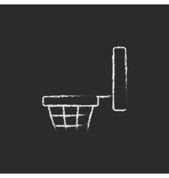 Basketball hoop icon drawn in chalk vector image vector image