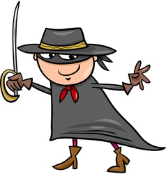 boy in zorro costume cartoon vector image vector image
