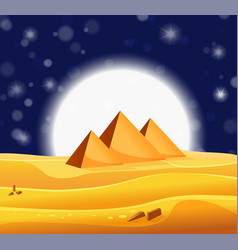 Cartoon egyptian pyramids in the desert with star vector